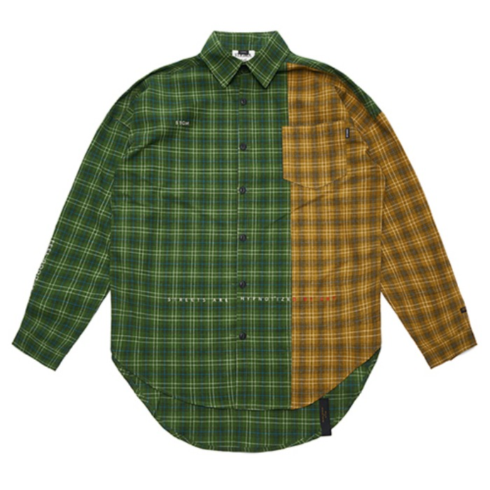 STIGMA FEEL GOOD HALF OVERSIZED CHECK SHIRTS GREEN - 풋셀스토어