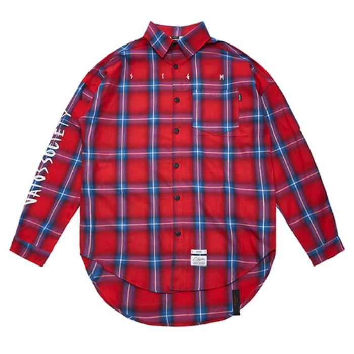 STIGMA HALLUCINATION OVERSIZED CHECK SHIRTS RED - 풋셀스토어