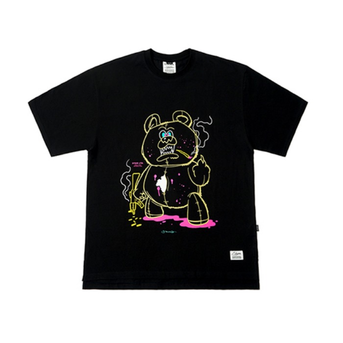 STIGMA BEAR GANG OVERSIZED T-SHIRTS BLACK - 풋셀스토어