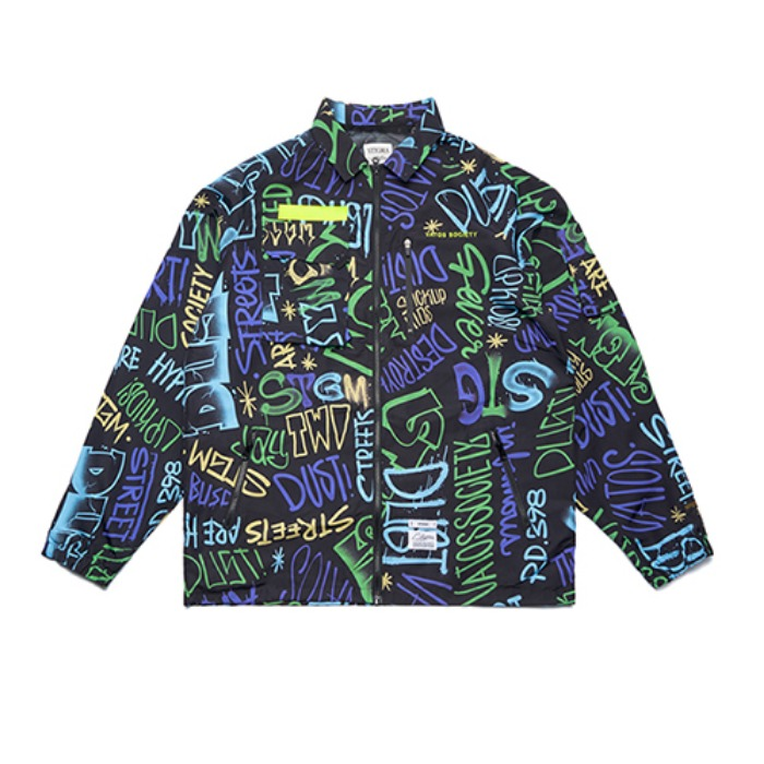 STIGMA STGM TECH OVERSIZED COACH JACKET PATTERN - 풋셀스토어