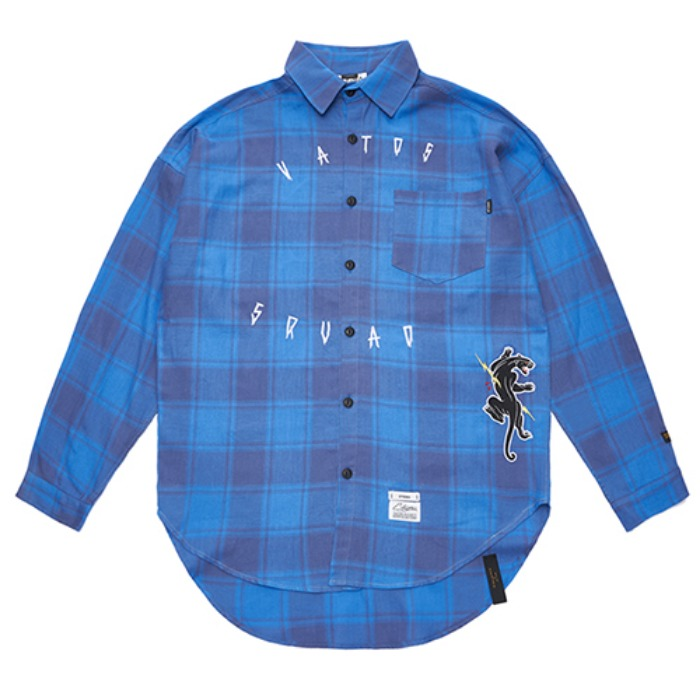 STIGMA PANTHER OVERSIZED CHECK SHIRTS BLUE - 풋셀스토어