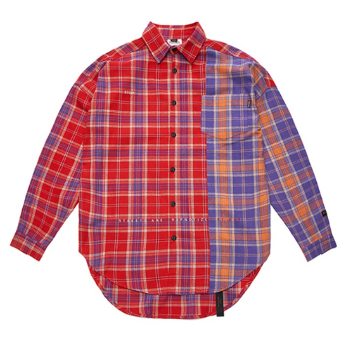 STIGMA STREET HALF OVERSIZED CHECK SHIRTS RED - 풋셀스토어