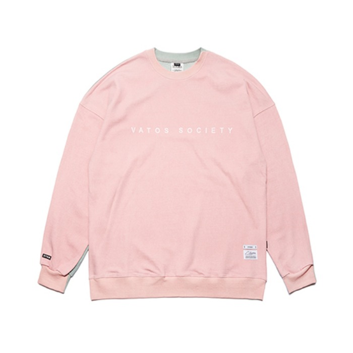 STIGMA SIDE HALF OVERSIZED MEDIUM SWEAT CREWNECK PINK - 풋셀스토어