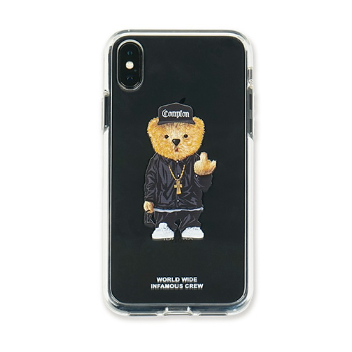 STIGMA PHONE CASE COMPTON BEAR CLEAR iPHONE Xs / Xs MAX / Xr - 풋셀스토어