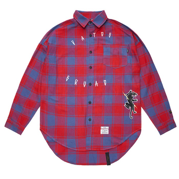 STIGMA PANTHER OVERSIZED CHECK SHIRTS RED - 풋셀스토어