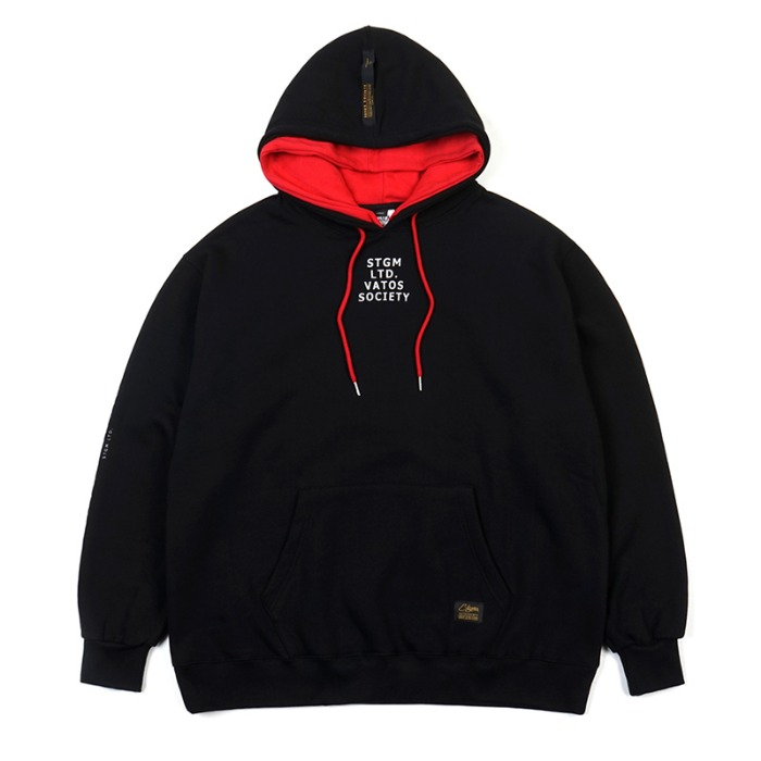 스티그마 STIGMA DOUBLE OVERSIZED HEAVY SWEAT HOODIE BLACK - 풋셀스토어