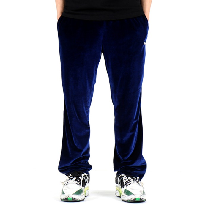 [쿠드그라스] COUP DE GRACE VELOUR REFLECT PIPING SLACKS (BLUE) - 풋셀스토어