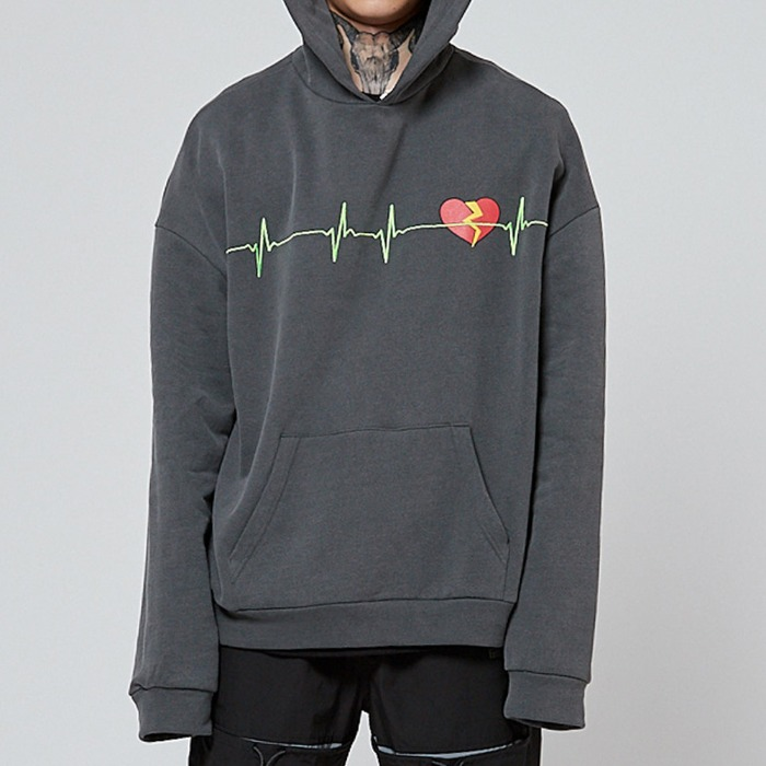 [쿠드그라스] COUP DE GRACE BROKEN HEART HOODIE CHARCOAL - 풋셀스토어