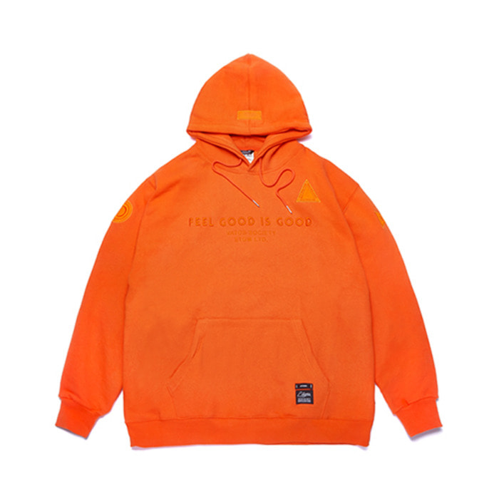 스티그마STGM PATCH OVERSIZED HEAVY SWEAT HOODIE ORANGE - 풋셀스토어