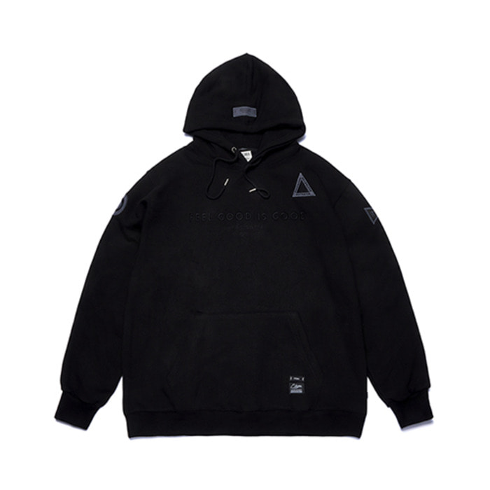 스티그마STGM PATCH OVERSIZED HEAVY SWEAT HOODIE BLACK - 풋셀스토어