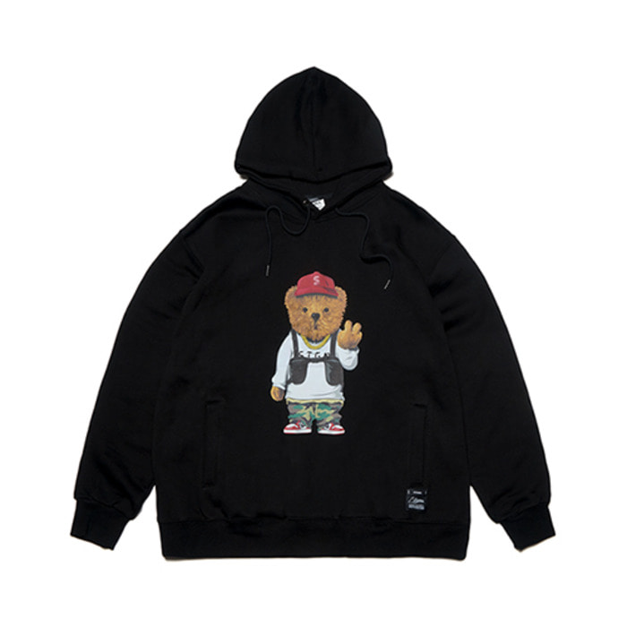 스티그마V BEAR OVERSIZED HEAVY SWEAT HOODIE BLACK - 풋셀스토어