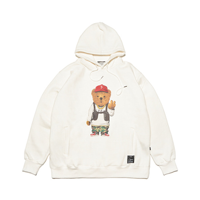스티그마V BEAR OVERSIZED HEAVY SWEAT HOODIE WHITE - 풋셀스토어