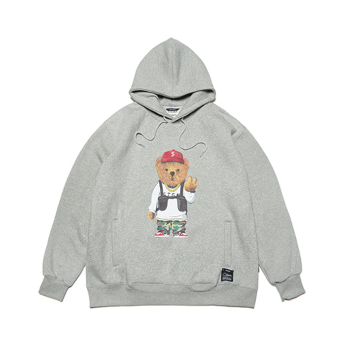 스티그마V BEAR OVERSIZED HEAVY SWEAT HOODIE GREY - 풋셀스토어