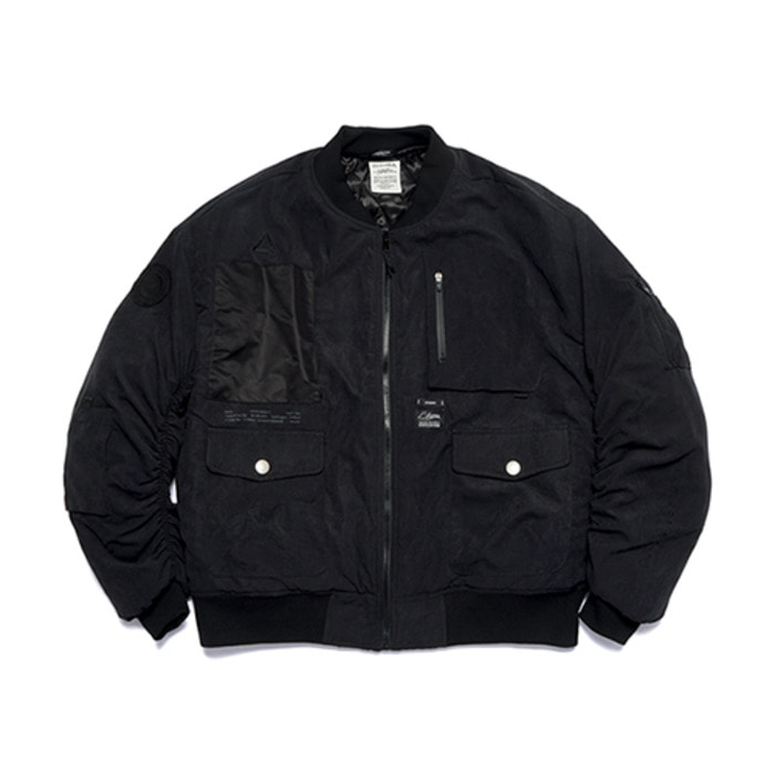 스티그마WASHED TECH OVERSIZED MA-1 JACKET BLACK - 풋셀스토어