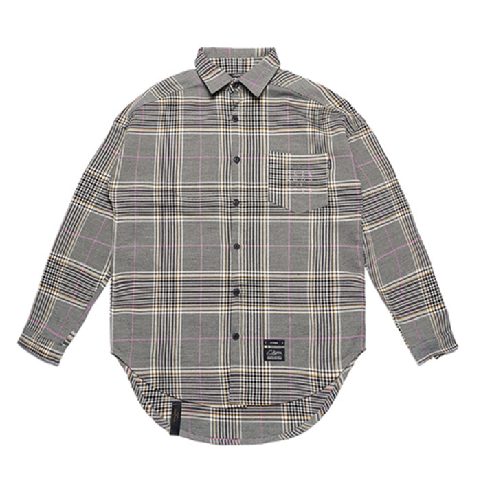 스티그마GL OVERSIZED CHECK SHIRTS PINK GRAY - 풋셀스토어