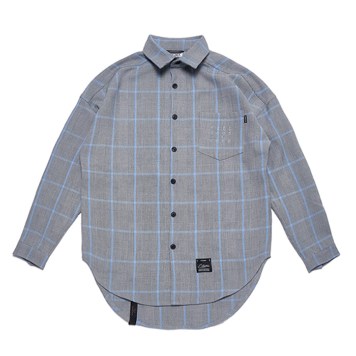 스티그마GL OVERSIZED CHECK SHIRTS BLUE GRAY - 풋셀스토어