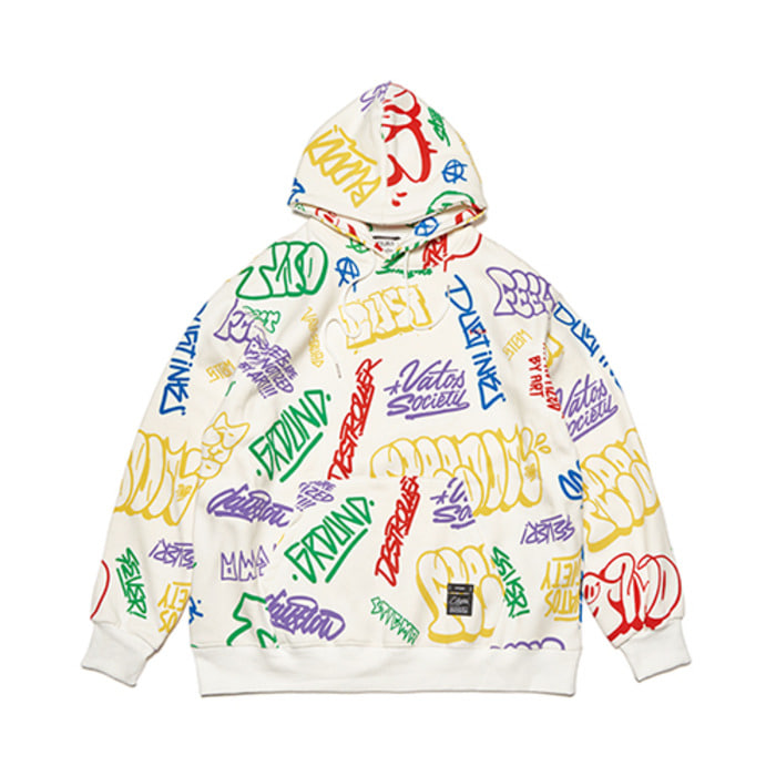스티그마PAINTING OVERSIZED HEAVY SWEAT HOODIE WHITE MULTI - 풋셀스토어
