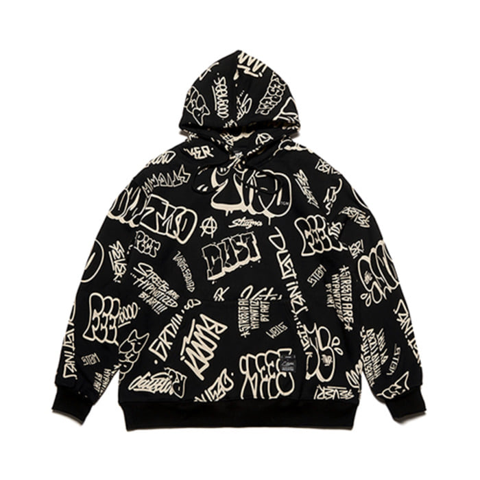 스티그마PAINTING OVERSIZED HEAVY SWEAT HOODIE BLACK - 풋셀스토어