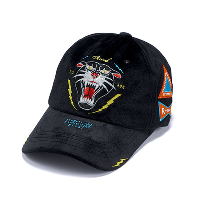 스티그마LIGHTNING VELVET BASEBALL CAP BLACK - 풋셀스토어