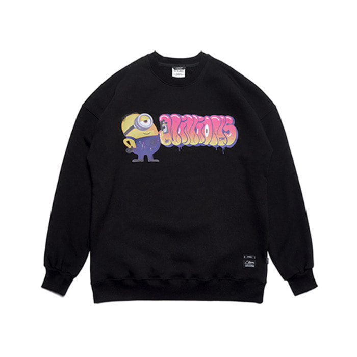 스티그마MINIONS OVERSIZED HEAVY SWEAT CREWNECK BLACK - 풋셀스토어