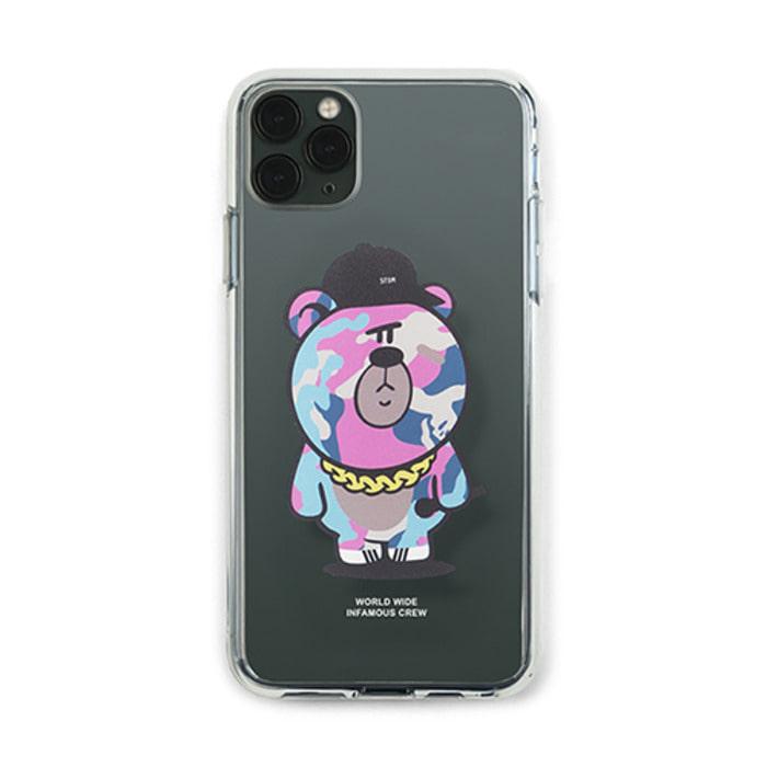 스티그마PHONE CASE CAMOUFLAGE BEAR PINK CLEAR iPHONE 11 / 11 Pro / 11 Pro Max - 풋셀스토어