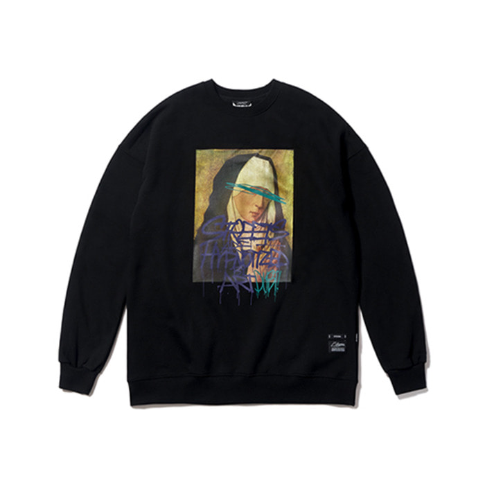 스티그마PRAY OVERSIZED HEAVY SWEAT CREWNECK BLACK - 풋셀스토어