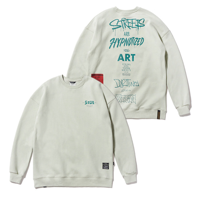 스티그마TYPO OVERSIZED HEAVY SWEAT CREWNECK BEIGE - 풋셀스토어