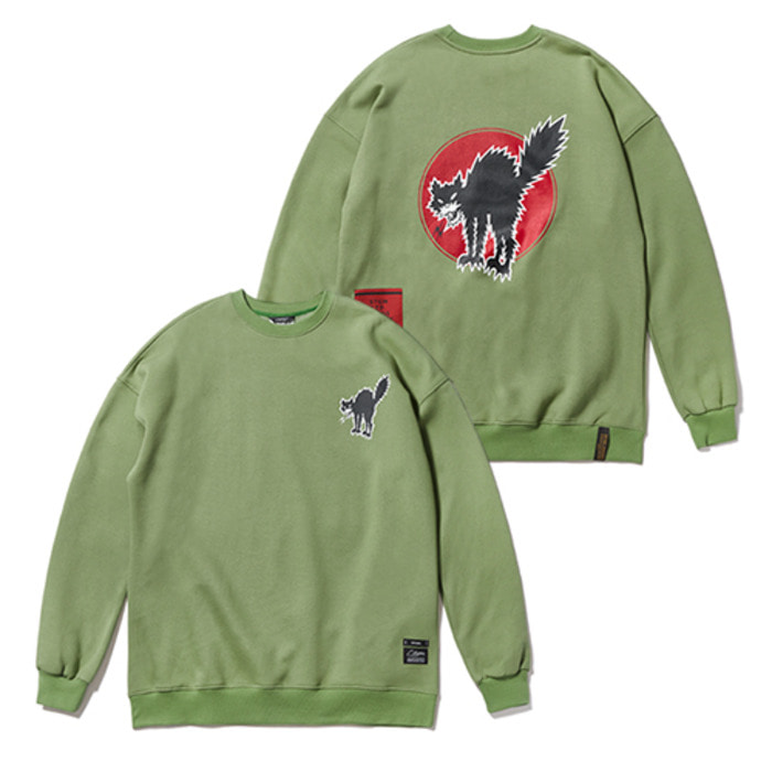 스티그마CAT OVERSIZED HEAVY SWEAT CREWNECK OLIVE - 풋셀스토어