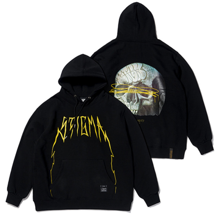 스티그마20 SKULL OVERSIZED HEAVY SWEAT HOODIE BLACK - 풋셀스토어