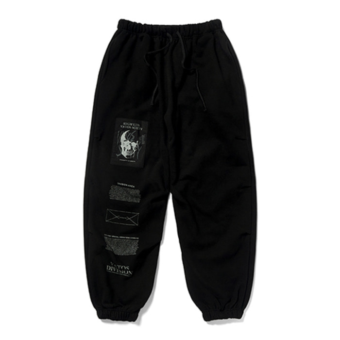 스티그마SKULL HEAVY SWEAT WIDE JOGGER PANTS BLACK - 풋셀스토어