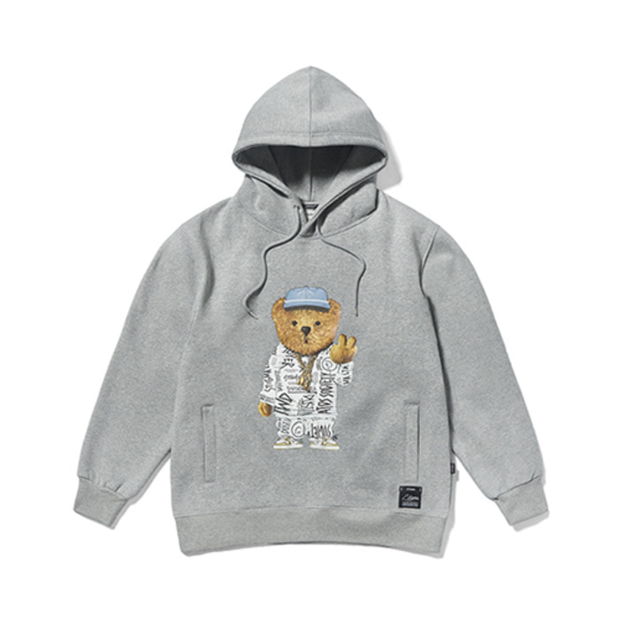 스티그마20 COMPTON BEAR HEAVY SWEAT HOODIE GREY - 풋셀스토어