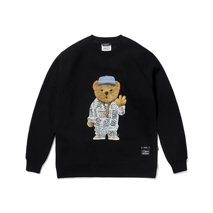 스티그마20 COMPTON BEAR HEAVY SWEAT CREWNECK BLACK - 풋셀스토어