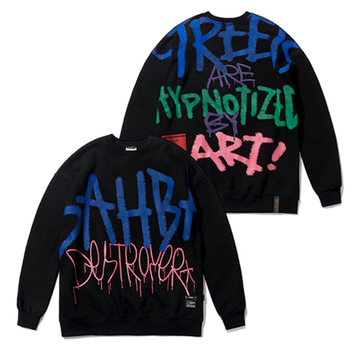 스티그마20 GRAFFITI OVERSIZED HEAVY SWEAT CREWNECK BLACK - 풋셀스토어