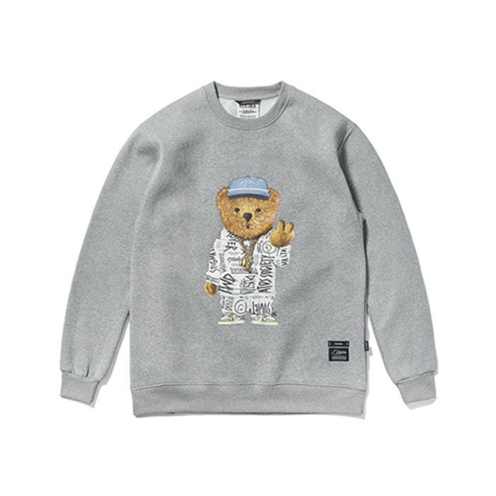 스티그마20 COMPTON BEAR HEAVY SWEAT CREWNECK GREY - 풋셀스토어