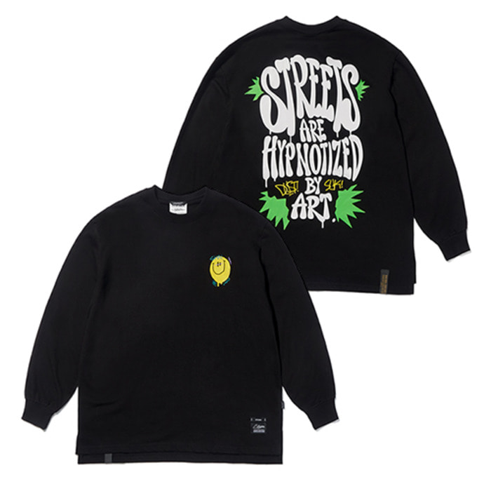 스티그마20 SMILE OVERSIZED LONG SLEEVES T-SHIRTS BLACK - 풋셀스토어