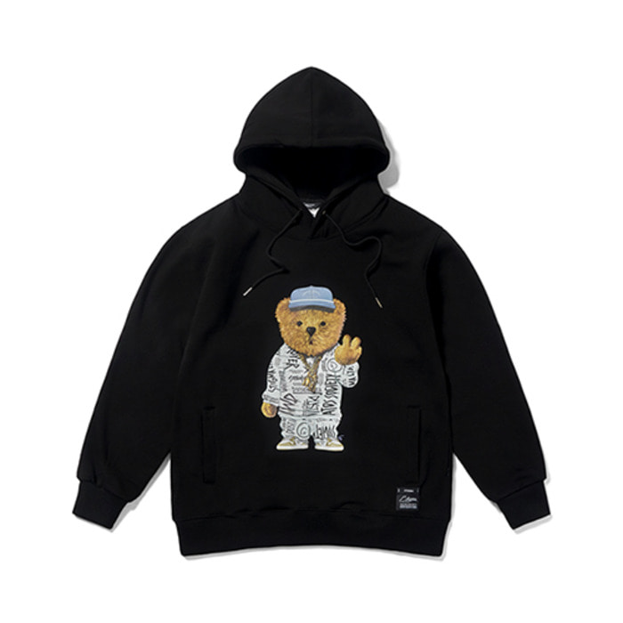 스티그마20 COMPTON BEAR HEAVY SWEAT HOODIE BLACK - 풋셀스토어
