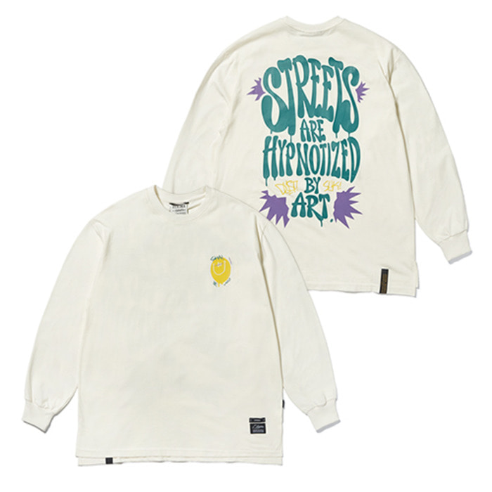 스티그마20 SMILE OVERSIZED LONG SLEEVES T-SHIRTS IVORY - 풋셀스토어