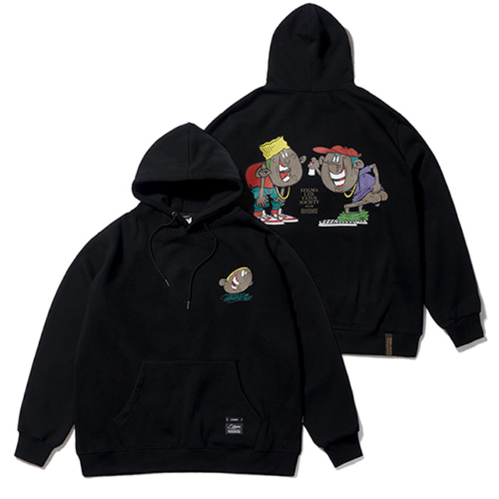 스티그마CARTOON OVERSIZED HEAVY SWEAT HOODIE BLACK - 풋셀스토어