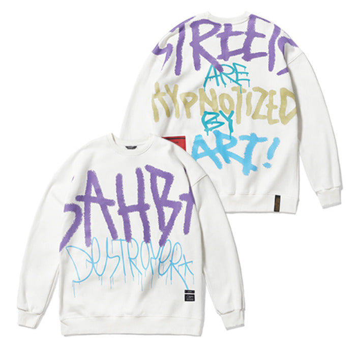 스티그마20 GRAFFITI OVERSIZED HEAVY SWEAT CREWNECK WHITE - 풋셀스토어