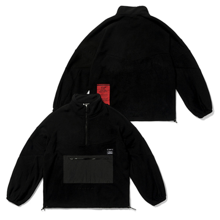 스티그마BLEND OVERSIZED FLEECE ANORAK JACKET BLACK - 풋셀스토어