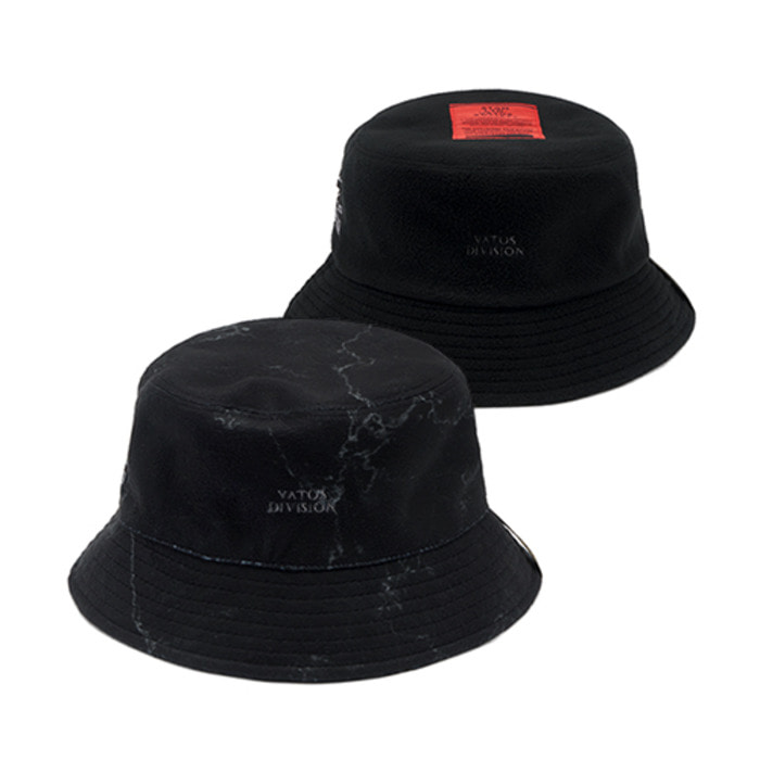 스티그마MARBLE REVERSIBLE FLEECE BUCKET HAT BLACK - 풋셀스토어