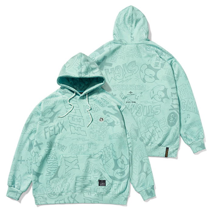 스티그마X FELIX OVERSIZED HEAVY SWEAT HOODIE BLUE GREEN - 풋셀스토어