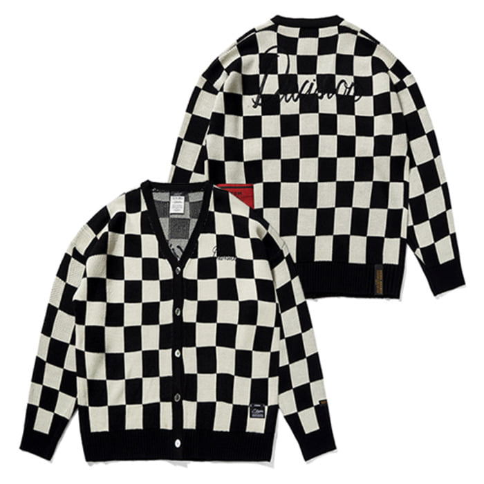 스티그마CHECKER OVERSIZED KNIT CARDIGAN PATTERN - 풋셀스토어