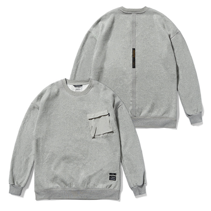 스티그마20 TECH OVERSIZED HEAVY SWEAT CREWNECK GREY - 풋셀스토어