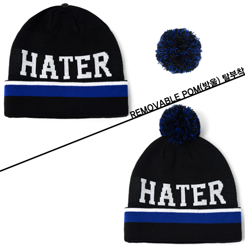 [HATer] 헤이터비니 HATER BALLER Beanie with Removable Pom-Black - 풋셀스토어