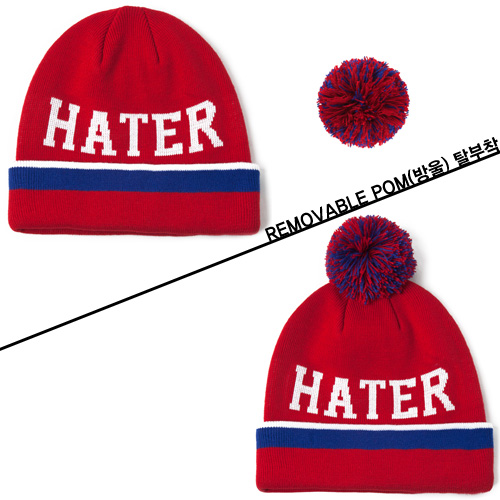 [HATer] 헤이터비니 HATER BALLER Beanie with Removable Pom-Red - 풋셀스토어