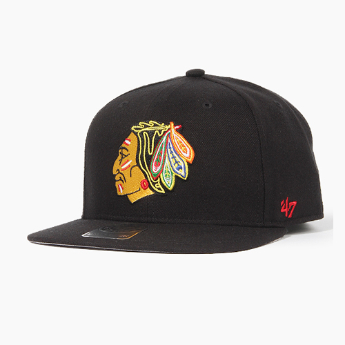 [47BRAND] Sure Shot Snapback BlackHawks(Black), 스냅백 - 풋셀스토어
