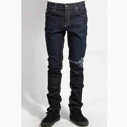 [러스틱다임] RUSTICDIME Taper Fit Denim Raw Rip, 남자 긴바지