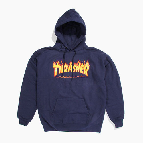 [THRASHER] Flame Hood Navy,트래셔 후디, 쓰레셔후드티