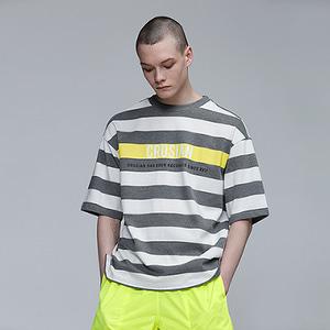 [핑크크루시안] 라임 포인트 스트라이프 티셔츠 PCB2TS003 (남여공용) - 풋셀스토어